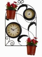 Садовые часы односторонние  с терм, под цветы 063-15F (31*5*46см)